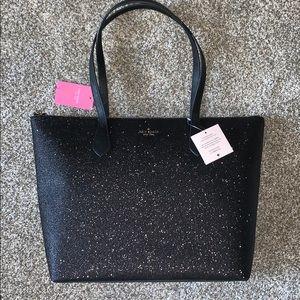 NWT Kate Spade Joeley Large Black Glitter Tote Bag